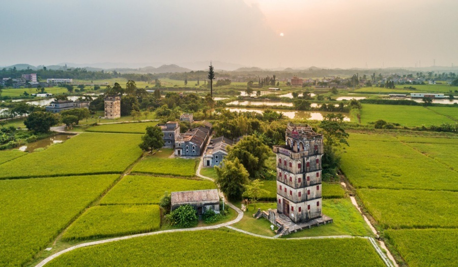 The city of, , Jiangmen, Greater Bay Area, Ming dynasty, a sanctuary for thousands of birds, completed in 1936 by Xie Weili, Gudou Hot Spring Valley
