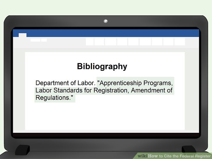 How to Cite the Federal Register