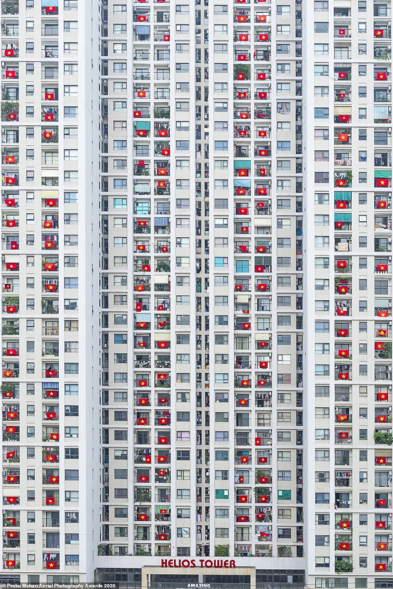 residential apartment, windows, national flag, World in Lockdown, Aerial Photography Awards 2020, COVID-19, photo contest, Indian photographer, Prabu Mohan