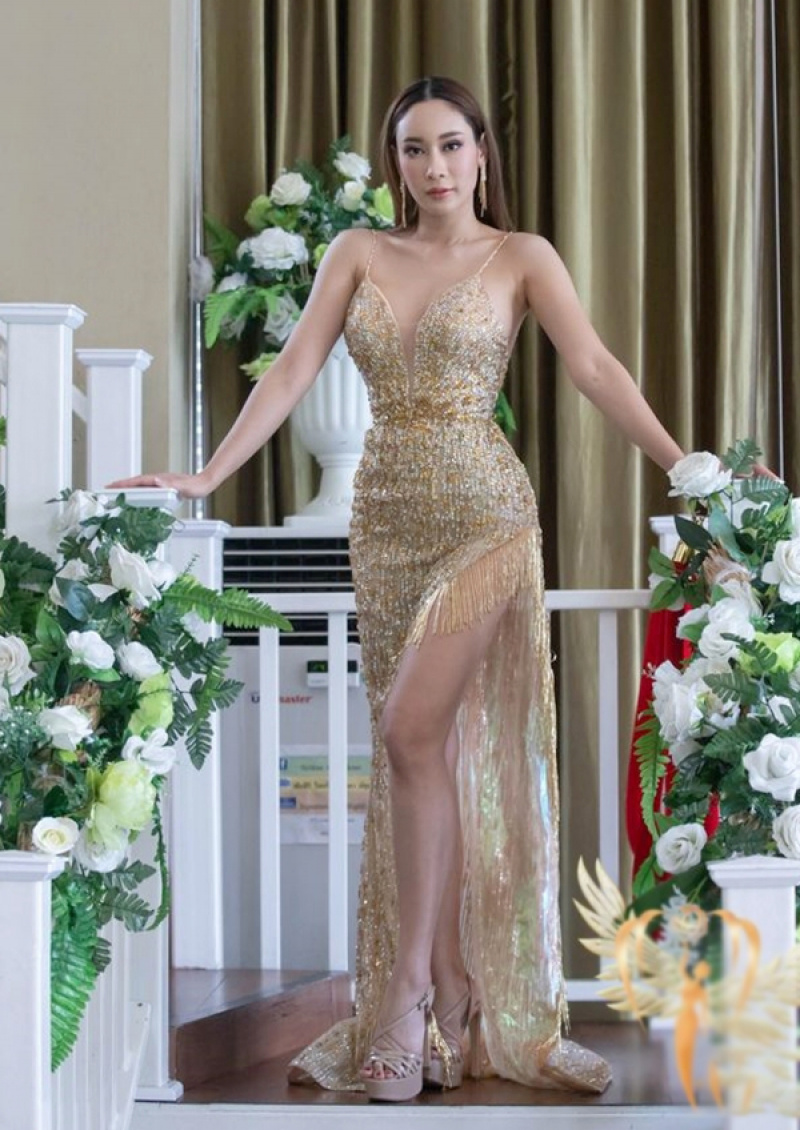 Thai Thi Hoa competes in evening gown segment at Miss Earth 2020