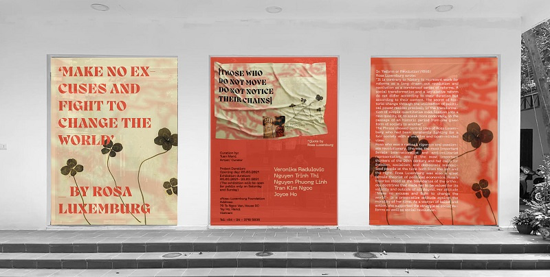 """Female group exhibition in Hanoi, commemorate Rosa Luxemburg in Hanoi, Rosa Luxemburg inspired exhibition in Hanoi, exhibition in March in Hanoi; """"Those who do not move, do not notice their chains"""""""