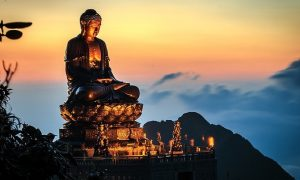 Buddha statue sitting atop the highest mountain in Vietnam set a world record