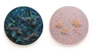 Korean traditional lacquer painting reborn as canvases encrusted with jewelry