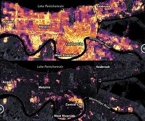 Satellite observes power outages in New Orleans