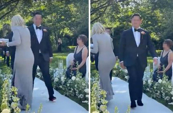 Father-in-law's girlfriend 'ruins wedding' by walking down aisle